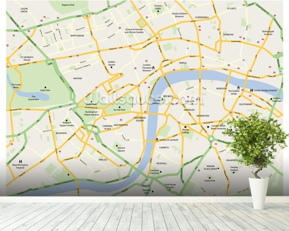Easy London Map.London Map Wallpaper Wall Mural Wallsauce New Zealand