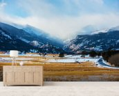 Mountains Winter Scenery wallpaper mural living room preview