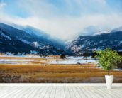 Mountains Winter Scenery wallpaper mural in-room view