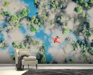 Aerial of red airplane flying over forest wall mural