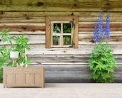 Wooden Chalet Window mural wallpaper living room preview
