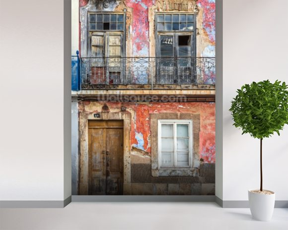 Old Portuguese House Facade wallpaper mural room setting