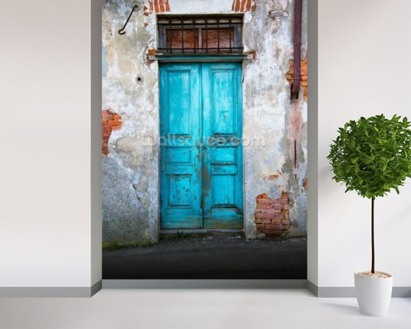 Old blue wooden door wallpaper wall mural wallsauce for Door mural wallpaper