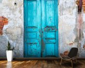 Old Blue Wooden Door mural wallpaper kitchen preview