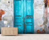 Old Blue Wooden Door mural wallpaper living room preview