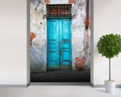 Old Blue Wooden Door mural wallpaper in-room view