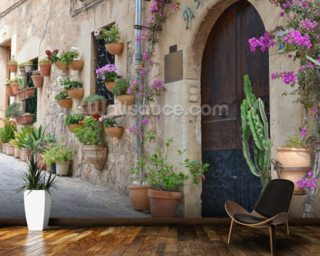 Mediterranean Village House mural wallpaper