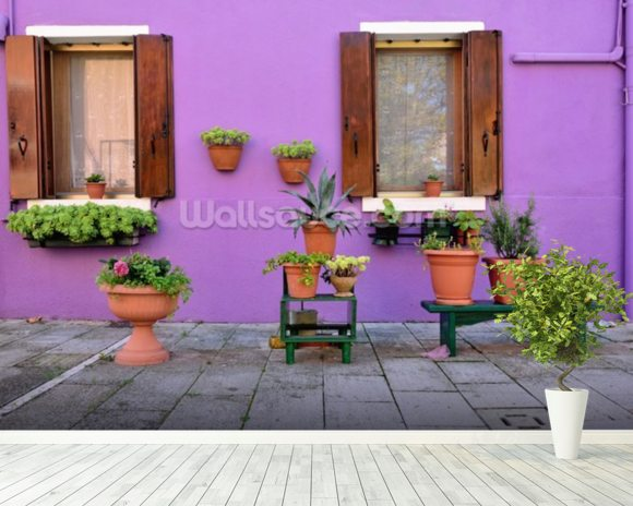 Purple Burano Island House, Venice mural wallpaper room setting