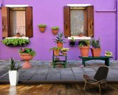 Purple Burano Island House, Venice mural wallpaper kitchen preview