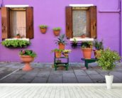 Purple Burano Island House, Venice mural wallpaper in-room view