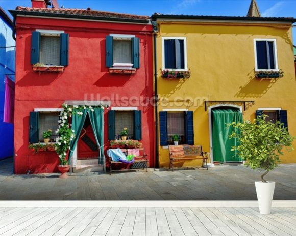 Colourful Burano Island Houses wall mural room setting
