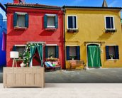 Colourful Burano Island Houses wall mural living room preview