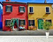 Colourful Burano Island Houses wall mural in-room view