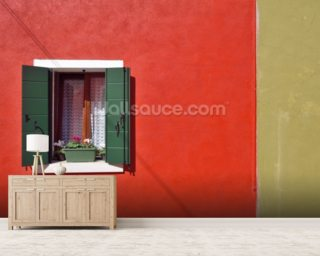 Red and Olive Green Facade wallpaper mural