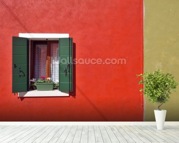 Red and Olive Green Facade wallpaper mural room setting
