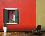 Red and Olive Green Facade wallpaper mural kitchen preview