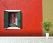 Red and Olive Green Facade wallpaper mural in-room view