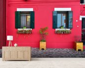 Red Village House Burano Island wall mural living room preview