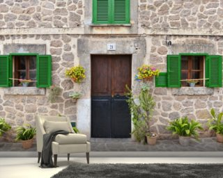 Village House with Green Shutters mural wallpaper