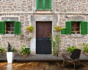 Village House with Green Shutters mural wallpaper kitchen preview