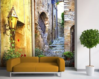 Mediterranean Old Town Street Wall Mural Wallpaper Wall Murals Wallpaper