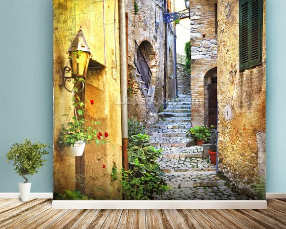 Mediterranean Old Town Street wall mural room setting