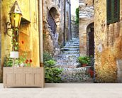 Mediterranean Old Town Street wall mural living room preview