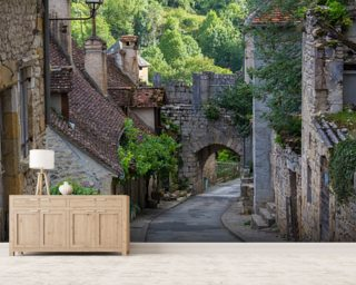 Historic Rocamadour Street, France mural wallpaper