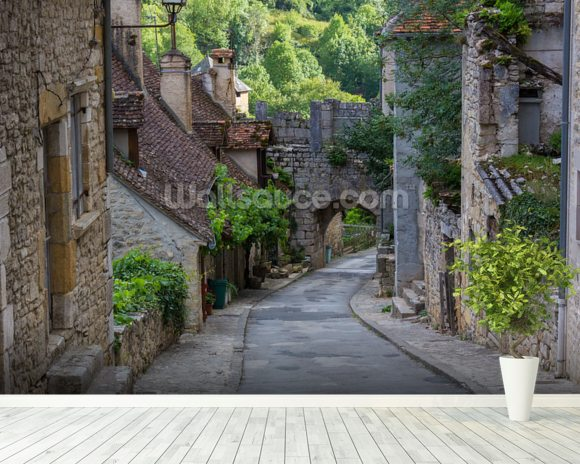 Historic rocamadour street france wallpaper wall mural for Colonial mural wallpaper