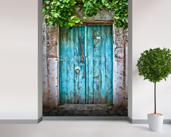 Bright blue wooden door wallpaper wall mural wallsauce for Door mural wallpaper