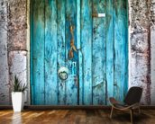 Bright Blue Wooden Door mural wallpaper kitchen preview