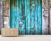 Bright Blue Wooden Door mural wallpaper living room preview