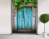 Bright Blue Wooden Door mural wallpaper in-room view