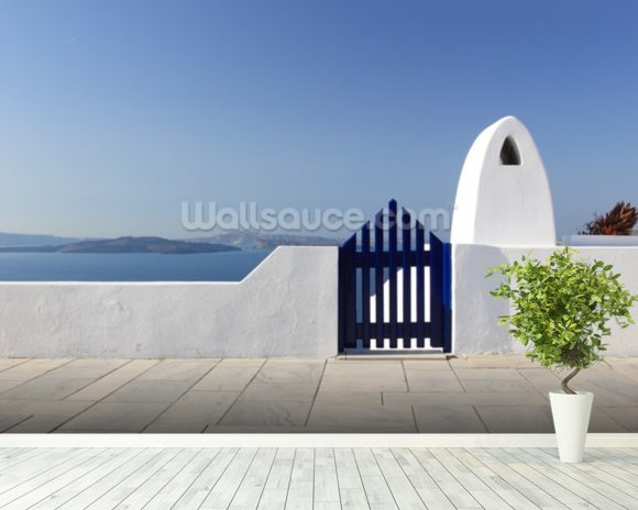 White and Blue, Santorini, Greece mural wallpaper room setting