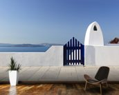 White and Blue, Santorini, Greece mural wallpaper kitchen preview