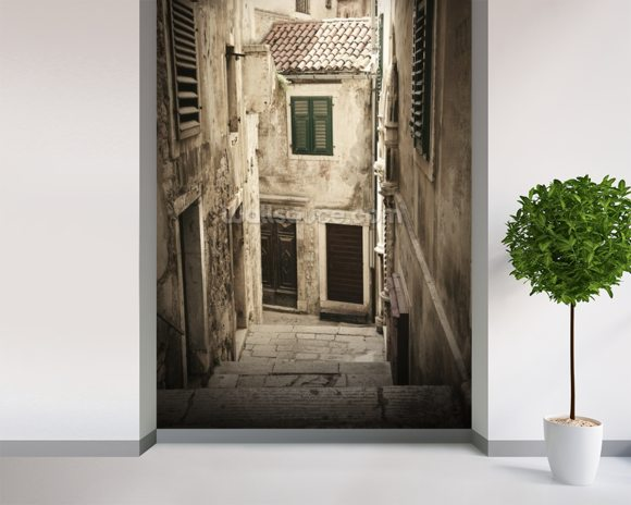 Old Town Passageway Steps mural wallpaper room setting