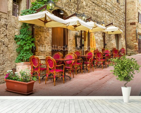 Old town cafe italy wallpaper wall mural wallsauce for Cafe mural wallpaper