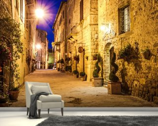 Ancient Pienza at Night, Italy wallpaper mural