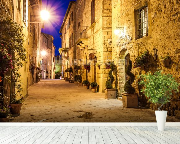 Ancient Pienza at Night, Italy wallpaper mural room setting