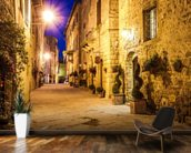 Ancient Pienza at Night, Italy wallpaper mural kitchen preview