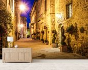 Ancient Pienza at Night, Italy wallpaper mural living room preview