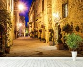 Ancient Pienza at Night, Italy wallpaper mural in-room view