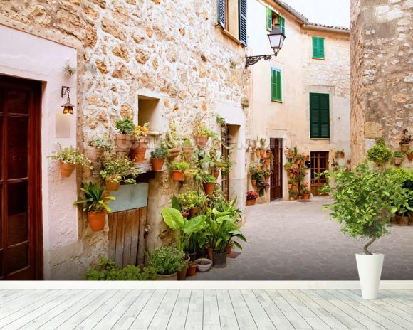Beautiful Valldemossa mural wallpaper room setting