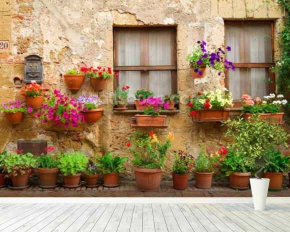 Stone Facade and Flowers, Italy wall mural room setting