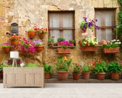 Stone Facade and Flowers, Italy wall mural living room preview