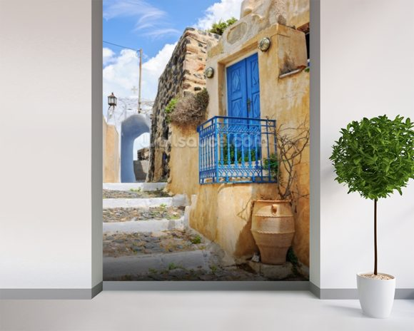 Greek village house with blue door pyrgos wallpaper wall for Door wall mural