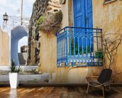 Greek Village House with Blue Door, Pyrgos wallpaper mural kitchen preview