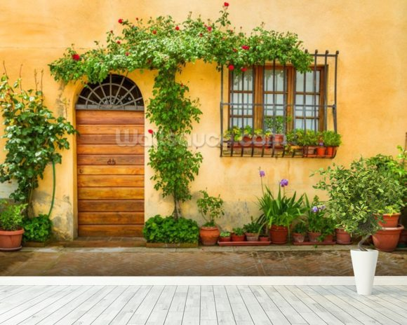 Beautiful Village House, Italy mural wallpaper room setting