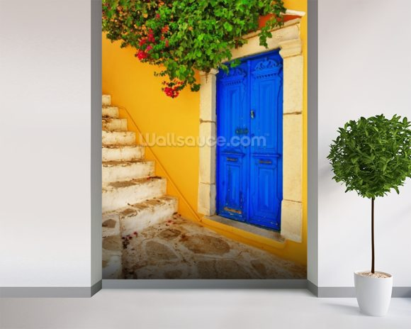 Colourful Doorway, Symi, Greece mural wallpaper room setting
