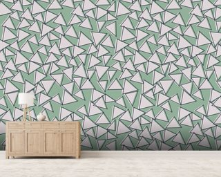 Green Triangles Wallpaper Wall Murals